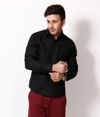 Alian Men's Solid Casual Black Shirt