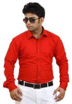 SIERA Men's Solid Casual Red Shirt