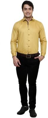 Clubstone Men's Solid Formal Gold Shirt