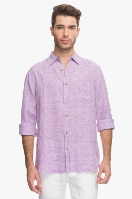 Cotton World Men's Solid Casual Linen Purple Shirt