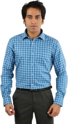 Desar Rana Men's Checkered, Harringbone Formal Blue Shirt