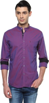 British Club Men's Solid Casual Purple Shirt