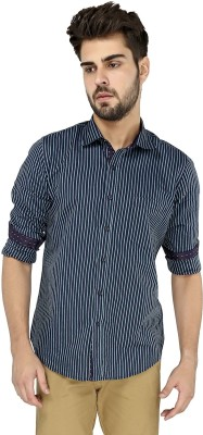 Zoro Auge Men's Striped Casual Blue, Grey Shirt