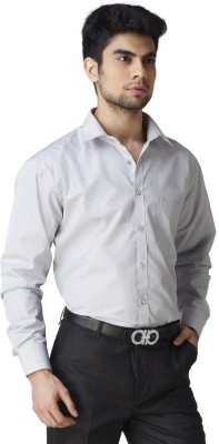 Warewell Men's Solid Formal Grey Shirt