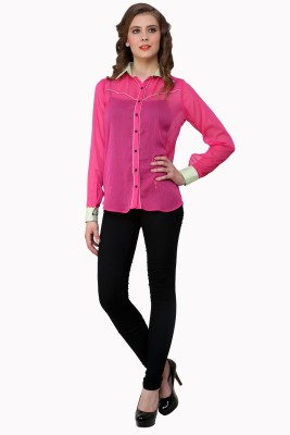 Zotw Women's Solid Casual Pink Shirt