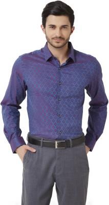 Peter England Men's Geometric Print Casual Blue Shirt