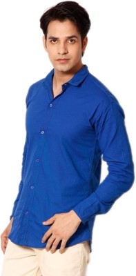 Alian Men's Solid Casual Blue Shirt
