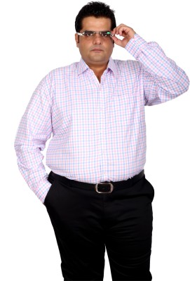 Xmex Men's Checkered Formal Pink Shirt