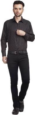 Zuricch Men's Floral Print Casual Black Shirt