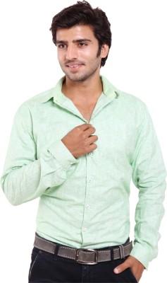 Deeksha Men's Solid Casual Green Shirt