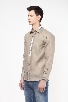Remo Men's Solid Casual Beige Shirt