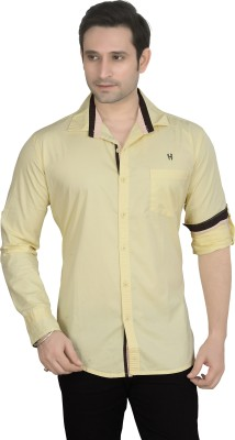 Private Image Men's Solid Casual, Party, Wedding Yellow Shirt