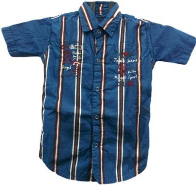 Angel Kids Boy's Striped Party Blue, White Shirt