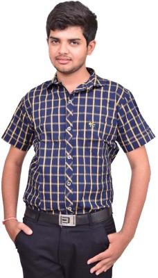 British Terminal Men's Checkered Casual Yellow Shirt