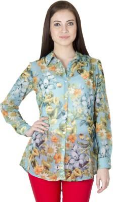 Paislei Women's Floral Print Casual Green Shirt
