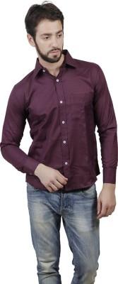 MAKHKHA Men's Solid Formal Purple Shirt