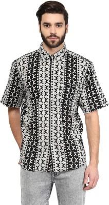 Vivid India Men's Printed Casual Black Shirt