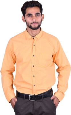 Cortos Men's Self Design Formal Yellow Shirt