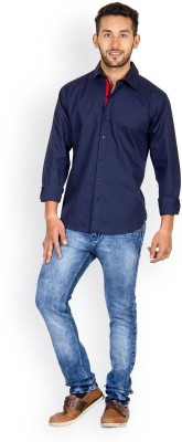 Tuscans Men's Solid Casual Dark Blue Shirt