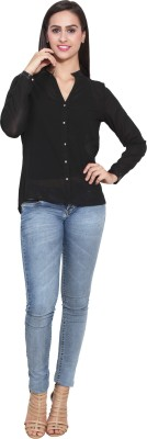 FATEN Women's Solid Casual Black Shirt