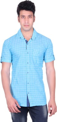 PICKLE Men's Solid, Checkered Formal Blue Shirt