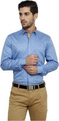 Miche Jeffer Men's Printed Formal Blue Shirt