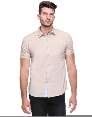 Scapes Men's Solid Casual Beige Shirt
