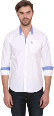 Human Steps Men's Solid Casual White Shirt