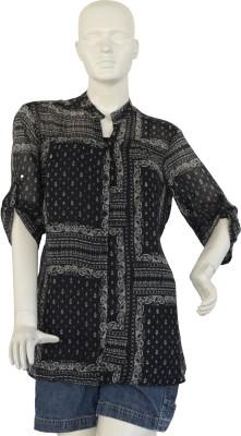 Jupi Women's Paisley Casual Black, White Shirt