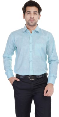 Blue Bird Men's Self Design Casual, Formal, Party Linen Blue Shirt
