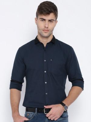 Harvard Men,s Self Design Casual Dark Blue Shirt