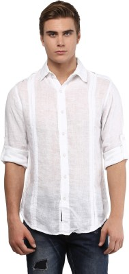 Punk Men's Solid Casual White Shirt