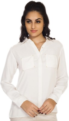 SOIE Women's Solid Casual White Shirt