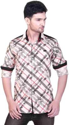 GoPlay Men's Striped Casual White Shirt