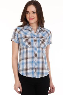 Mustard Women's Checkered Casual Blue Shirt