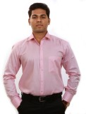 Iconic Men's Solid Formal Pink Shirt