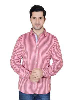 Denimize Men's Striped Casual Red Shirt
