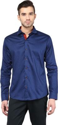Invern Men's Printed Casual Dark Blue Shirt