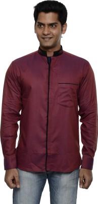 Ach Fashion Men's Self Design Casual Linen Maroon Shirt