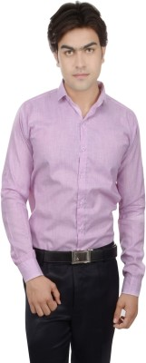 25th R Men,s Solid, Self Design Casual Pink Shirt