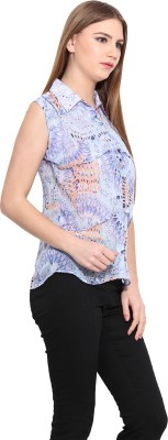 Desi Urban Women's Printed Casual Blue Shirt