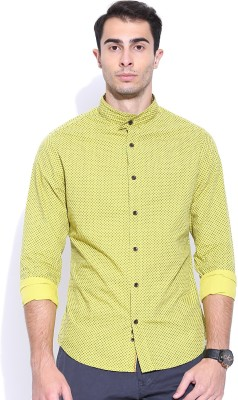 United Colors of Benetton Men's Printed Casual Yellow Shirt