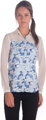 Miss Rich Women's Printed Casual Blue Shirt