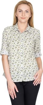 U&F Women's Floral Print Casual White, Green Shirt