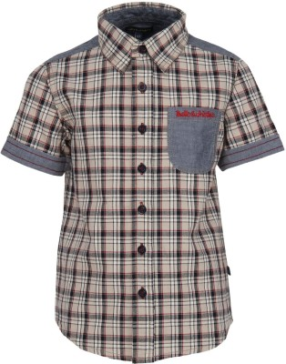 Bells and Whistles Boy's Checkered Casual Brown Shirt
