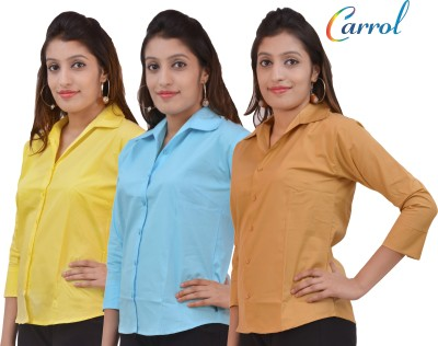 carrol Women,s, Girl's Solid Formal, Casual Yellow, Blue, Brown Shirt