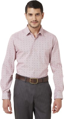 Peter England Men's Printed Casual Red Shirt