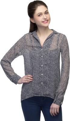 One Femme Women's Printed Casual Black Shirt
