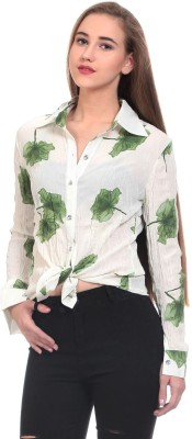 Wild Hawk Women's Printed Casual White Shirt