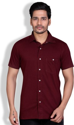 LUCfashion Men's Solid Casual Maroon Shirt